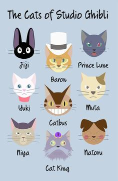 The Cats of Studio Ghibli. Omg I love them all.
