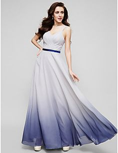TS+Couture®+Formal+Evening+Dress+-+Color+Gradient+A-line+Straps+Floor-length+Chiffon+with+Criss+Cross+–+USD+$+400.00