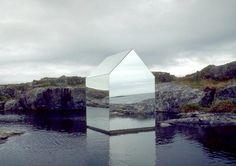 boyirl:  Ekkehard Altenburger,Mirror House, 1996, mirror on steel frame. Temporary installation on the Isle of Tyree, Scotland