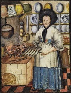 Anna Maria Hufnagel in the Kitchen by Anonymous 1663