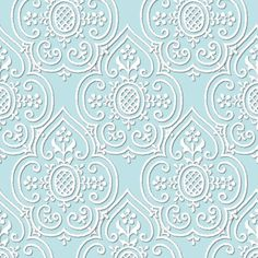 Lace Medallion ~ Robin's Egg Blue and White fabric by peacoquettedesigns on Spoonflower - custom fabric