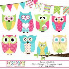 Pink Owl Clipart Set