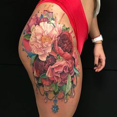 Coolest Flower Tattoo On Thigh