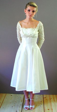 vintage 50's lace satin tea length wedding dress with sleeves $2500