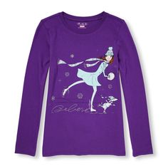 Girls Long Sleeve Glitter 'Believe' Ice Skating Girl And Puppy Graphic Tee