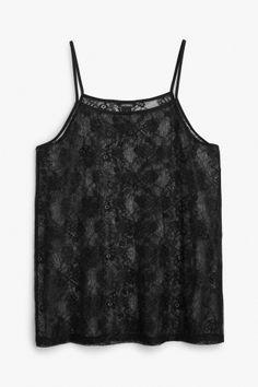 Monki Image 2 of Floral lace singlet in Black
