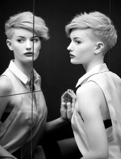 Edgy side-swept crop hairstyle