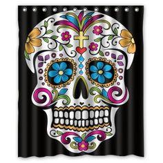 "CozyBath Dia De Los Muertos Waterproof Polyester Fabric 60""(w) x 72""(h) Shower Curtain and Hooks"