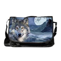 Icy Moon Wolf Art Portrait Messenger Bag