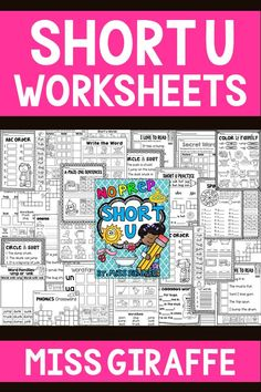 Short U worksheets that are fun and differentiated for kindergarten and first grade reading activities Short I Worksheets, Blends Worksheets, Vowel Worksheets, Short Vowel Activities, Reading Activities, First Grade Reading, First Grade Math, Vowel Practice, Letter Blends