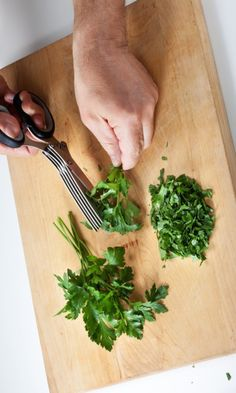 These five-blade herb scissors are designed to chop delicate leaves for a salad or pasta dish without bruising them
