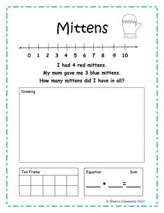 Addition Word Problems (January) (winter) - kindergarten and first grade - number line, draw to solve, ten frame, and equation - math centers, morning work, homework, minilessons - $