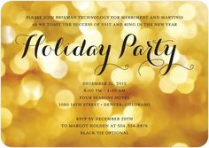 Corporate Holiday Party Invitations Party Glow - Front : Lemon