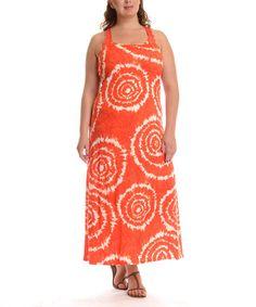 Look what I found on #zulily! Red Swirl Tie-Dye Maxi Dress - Plus #zulilyfinds