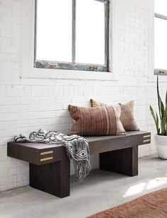 Cedric Pillow Set — dlb design / entryway with bench Accent Furniture, Furniture Decor, Living Room Furniture, Accent Bench, Do It Yourself Inspiration, Room Inspiration, Entry Way Design, Boutique Interior, Modern Bench