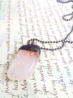 Pink Rose Quartz Healing Crystal Soldered Pendant by Mystarrrs, $23.00