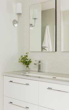 custom, shallow vanity with trough sink and deep drawers; penny tiles  backsplash