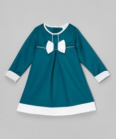 Another great find on #zulily! Turquoise & White Bow Dress - Infant, Toddler & Girls #zulilyfinds