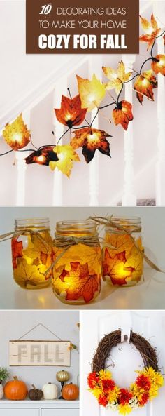 10 Decorating Ideas to Make Your Home Cozy for Fall. 10 Decorating Ideas to Make Your Home Cozy for Fall - easy and cheap DIY fall decorations. Get ready for the fall and make some fabulous decorations that will be hallmark for your home! Fall Bedroom Decor, Bedroom Ideas, Diy Bedroom, Autumn Diy Room Decor, Fall Apartment Decor, Autumn Room, Ideias Diy, Autumn Crafts, Diy Autumn