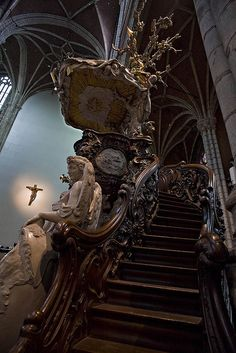 Staircase @ the St Bavo cathedral in Ghent Belgium