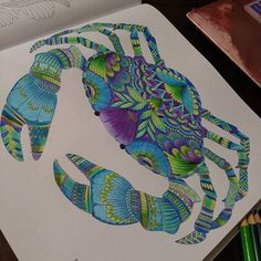 Millie Marotta - Tropical Wonderland - CRAB Coloring Book Art, Adult Coloring Pages, Zentangle, Crab Art, Johanna Basford Coloring Book, Coloring Tutorial, Copics, Prismacolor, Crayon