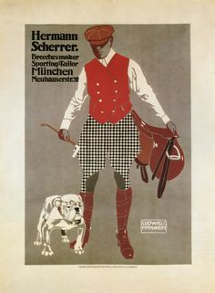 Ludwig Hohlwein 1908 - Plakatstil ( poster style ) Hermann Scherrer sportswear
