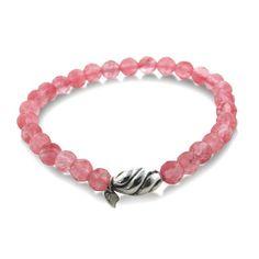 "Beaded Pink Quartz Sterling Silver Stretch Bracelet 7"""