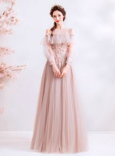In Stock:Ship in 48 Hours Pink Tulle Appliques Cold Shoulder Long Sleeve Prom Dr. - In Stock:Ship in 48 Hours Pink Tulle Appliques Cold Shoulder Long Sleeve Prom Dress Source by ell_en_a - Pretty Homecoming Dresses, Prom Dresses Long With Sleeves, Unique Prom Dresses, Pink Prom Dresses, Prom Dresses For Sale, Prom Dresses Online, Ball Dresses, Elegant Dresses, Pretty Dresses