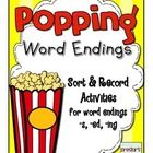 This pack is a set of 2 sort and record activities for word endings (-s, -ed, -ing).  Popping Word Endings Activity:  Print the popcorn sorting tub...