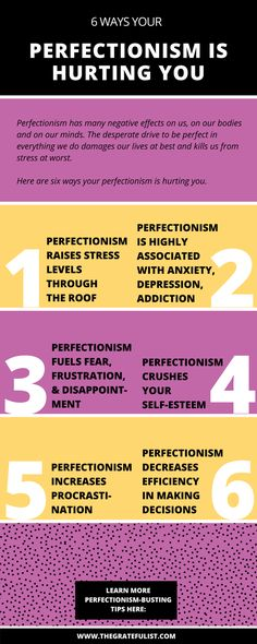 Perfectionism has many negative effects on us, on our bodies and on our minds. The desperate drive to be perfect in everything we do damages our lives at best and kills us from stress at worst. Being a perfectionist is bad for you. These are 6 ways your perfectionism is hurting you. Click through to read the entire blog post.