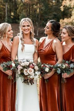 Luxe Velvet bridesmaids dresses are everyone's current obsession. These stunning dresses by Jenny Yoo in rustic English Rose is the perfect Autumn / Fall bridal party look. Pefectly paired with the Elliot gown, worn by the beautiful bride pictured. Photo by @marcandanna on Instagram. Velvet Bridesmaid Dresses, Beautiful Bridesmaid Dresses, Stunning Dresses, Autumn Bridesmaid Dresses, Wedding Dresses, Bridesmaids, Bride Pictures, Bridesmaid Inspiration, Luxe Wedding