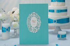 Blue Wedding Guest Book Laser Cut Design by MyUniqueWedding, $33.00