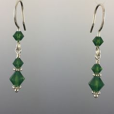 Swarovski Crystals Sterling Silver Earwires & Components with Rubber Backers Earwires and Links are Hand Formed Using Sterling Silver Wire Wire Jewelry Earrings, Diy Earrings, Earrings Handmade, Diy Jewelry, Beaded Jewelry, Jewelry Design, Jewelry Making, Jewelry Ideas, Silver Earrings