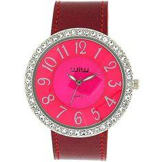 WIW Ladies Analogue Shocking Pink Stone Set Bezel Glitter Strap Watch WW161