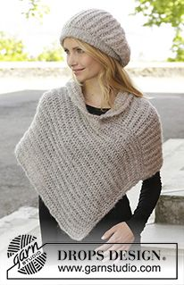 """Tender Moments - Knitted DROPS hat and poncho in 2 threads """"Brushed Alpaca Silk"""" in a patent pattern. Sizes S - XXXL. - Free pattern by DROPS Design Tender Moments – Knitted DROPS hat and poncho in 2 threads """"Brushed Alpaca Silk"""" in a patent Poncho Knitting Patterns, Free Knitting, Crochet Patterns, Scarf Patterns, Vintage Knitting, Quilt Patterns, Knitted Beret, Knitted Shawls, Knit Hats"""