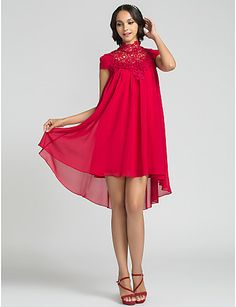 schede / kolom hoog nek kort / mini chiffon bruidsmeisje jurk (710815) - EUR € 107.24