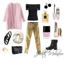 """Golden light pink"" by judith-molinero-fashion on Polyvore featuring Chicnova Fashion, J Brand, Kate Spade, Butter London, H&M, Furla, Bridge Jewelry, Dutch Basics, Maybelline and Clarins"