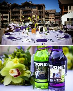 match jones soda flavors (and custom cocktails!) to your wedding colors! how cute!
