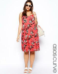 ASOS CURVE Exclusive Cami Swing Dress In Rose Print