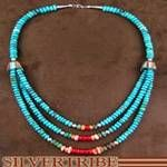 Native American Indian Jewelry Sterling Silver Turquoise And Multicolor Bead Necklace DS47349