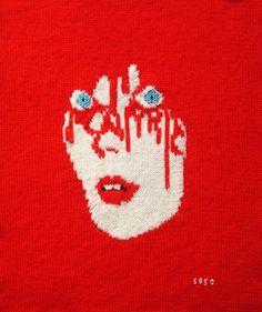 Jacquard et broderie, 40 x 50, tricot Solène Lebon- Couturier, design de Malika Favre.