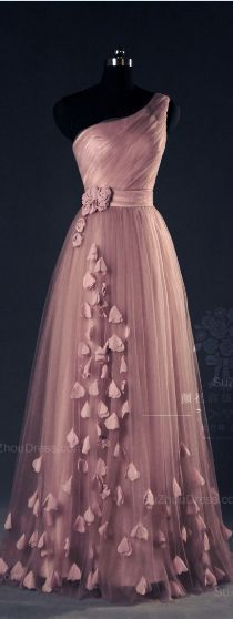 Prom Dresses For Teens, Tulle Evening Dress,Pink Evening Dresses,One Shoulder Prom A Line Flower Appliques Fitted Corset Elegant Prom Gowns Dresses Modest Elegant Dresses, Pretty Dresses, Formal Dresses, Elegant Clothing, Sexy Dresses, Prom Dresses 2015, Bridesmaid Dresses, Prom Gowns, Dress Prom
