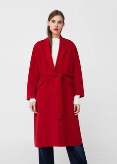 Belt wool coat -  Women   MANGO USA