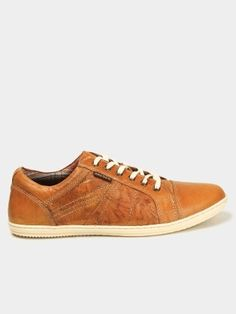 Red Tape Men Tan Brown Leather Sneakers Right View