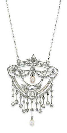 AN EARLY 20TH CENTURY PEARL AND DIAMOND BROOCH / PENDANT NECKLACE. The broad shield shaped openwork panel, with central pearl drop to a millegrain-set old and rose-cut diamond-set laurel leaf, scroll and swag surround, suspending a further pearl drop and old-cut diamond knife bar fringe, circa 1905, French marks for gold, 7.7cm long, detachable brooch fitting and fine fancy link chain, original fitted case from Mellerio