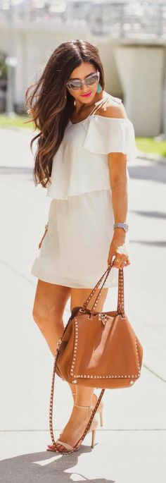 Cold Shoulder Overlay Dress with 'Medium Rockstud' Leather Tote and Heels Sandals