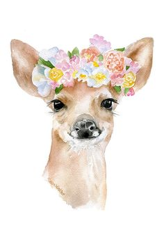 Deer Fawn Floral Watercolor Painting 4 x 6  Giclee by SusanWindsor