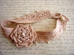 Off White Crocheted Flowered Choker with Pearls