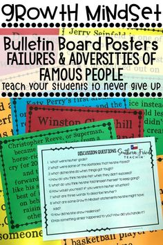 These posters of failures & adversities of famous people will be the perfect addition to your classroom, hallway, or school to get your students to have a positive growth mindset and have that can-do attitude! Included are posters of 48 different people, discussion questions, and student research activities. #growthmindset #bulletinboard #failures #obstacles