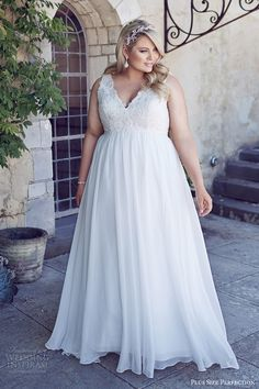 b3584bede6c3 plus size perfection bridal 2016 sleeveles thick straps vneck empire waist  lace bodice wedding dress (